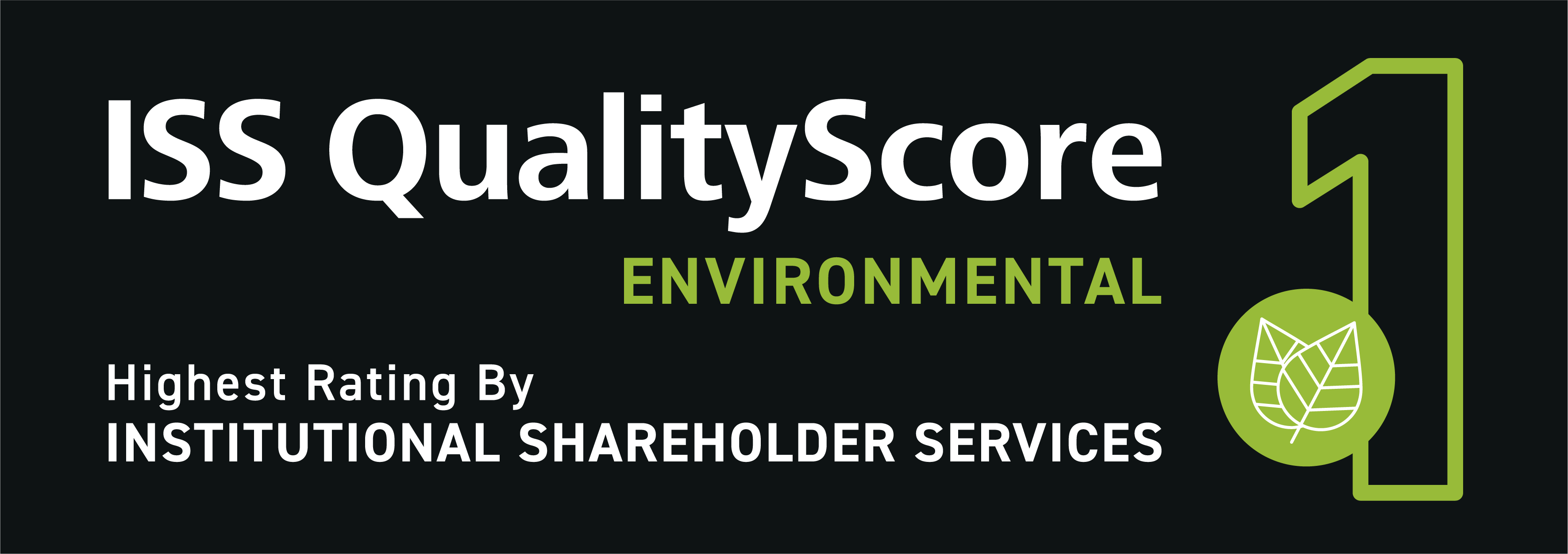 Text: ISS QualityScore Environmental 1. Highest rating by Institutional Shareholder Services