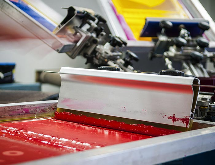 Printing press with red ink