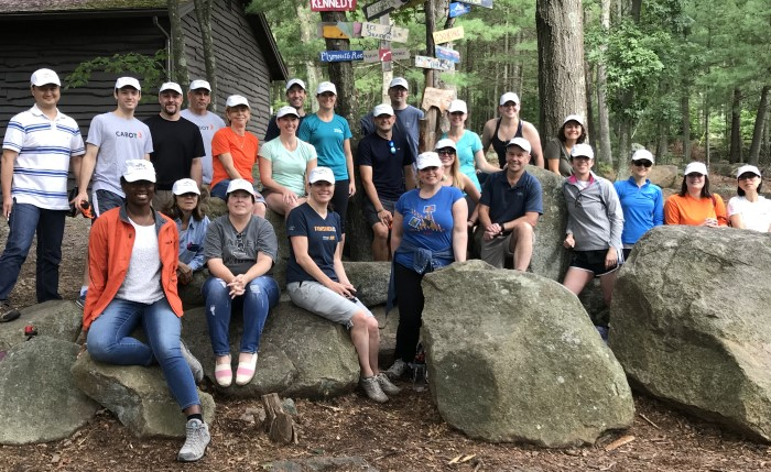 group photo at Camp Sayre in Milton, MA